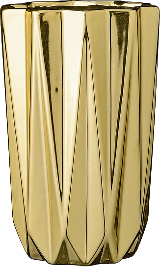 Vase Vertically structured gold D:12,7xH20cm